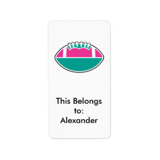 pink and teal football icon graphic label