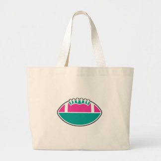 pink and teal football icon graphic large tote bag