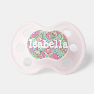 Pink and Teal Frosted Donuts Baby Girl Pacifier