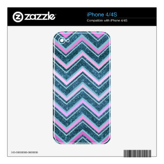 Pink and teal glam chevron decal for iPhone 4S
