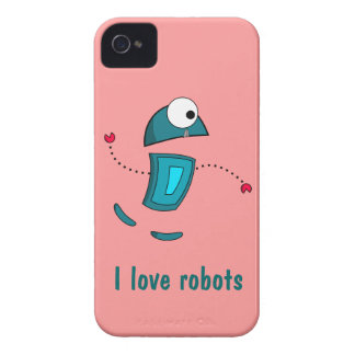 Pink and Teal I Love Robots iPhone 4s Cases