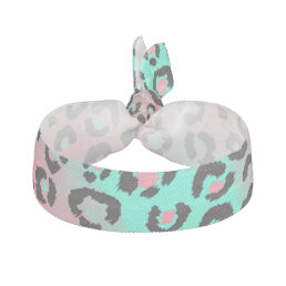 Pink and Teal Inverse Leopard Cheetah Print Hair Tie