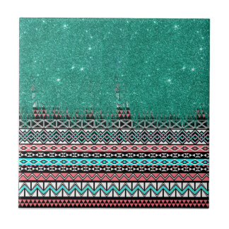 Pink and Teal Modern Aztec with Faux Teal Glitter Ceramic Tile