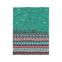Pink and Teal Modern Aztec with Faux Teal Glitter Fleece Blanket