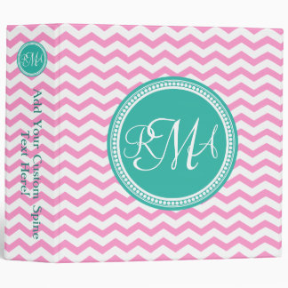 Pink and Teal Monogram Chevron Personalized 3 Ring Binders