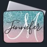 "Pink and Teal Ombre Glitter Monogrammed Laptop Sleeve<br><div class=""desc"">Create your own light pink ombre and teal glitter bokeh sparkle photo (faux glitter texture) with a modern elegant monogrammed text design. Customize the black and white personalized monogram font colors, styles and sizes. If you want to move the single letter monogram move elements by holding the Ctrl key down...</div>"