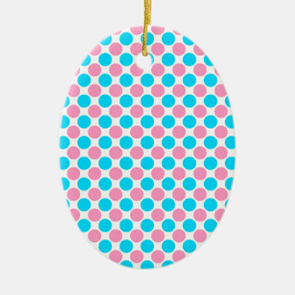 Pink and Teal on White Polka Dots Ceramic Ornament