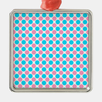 Pink and Teal on White Polka Dots Metal Ornament
