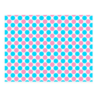 Pink and Teal on White Polka Dots Postcard