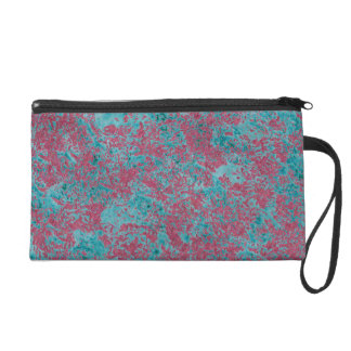 Pink and teal pattern wristlet purse