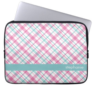Pink and Teal Plaid Pattern Computer Sleeve