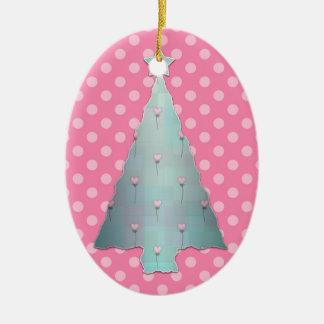 PInk and Teal Polka Dot Christmas Tree Ornament