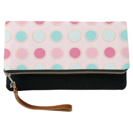 Pink and Teal Polka Dot Pattern Clutch