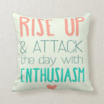 Pink and Teal Positive Thoughts Typography Pillow