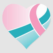 Pink and Teal ribbon HEART sticker