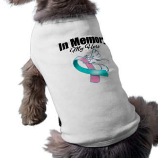 Pink and Teal Ribbon In Memory of My Hero Dog Shirt