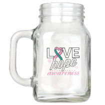 Pink and Teal Ribbon Love Hope Awareness Mason Jar