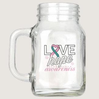 Pink and Teal Ribbon Love Hope Awareness Mason Jar