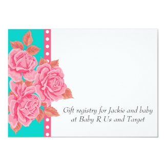 Pink and Teal Roses Baby Shower Invite