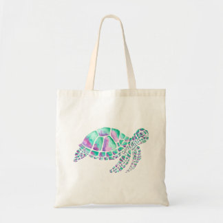 Pink and Teal Sea Turtle Tote Bag