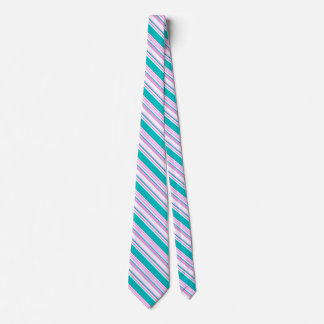 Pink and Teal Striped Tie