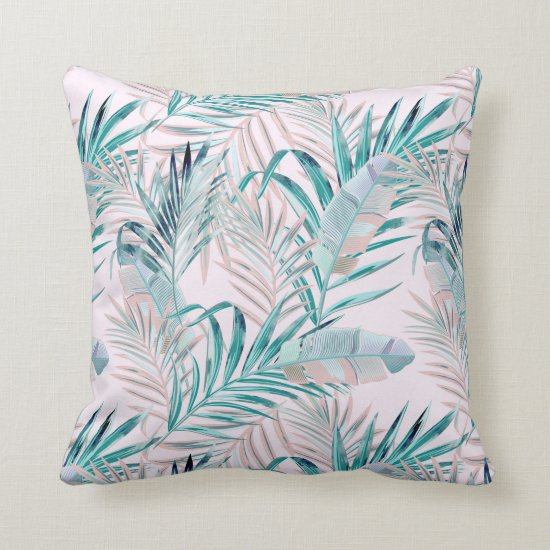Pink and Teal Tropical Ferns and Feathers Throw Pillow
