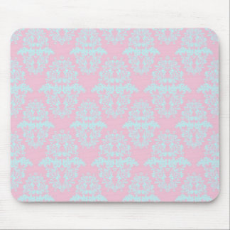 Pink and Teal Vintage Style Damask Pattern Mouse Pad