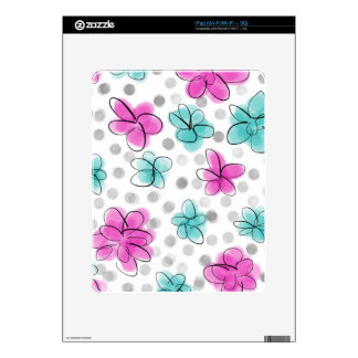 Pink and Teal Watercolor Flower Polka Dot Decals For The iPad