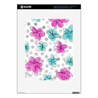 Pink and Teal Watercolor Flower Polka Dot iPad 3 Skins