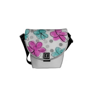 Pink and Teal Watercolor Flower Polka Dot Sketch Courier Bag