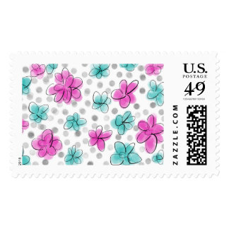 Pink and Teal Watercolor Flower Polka Dot Sketch Postage