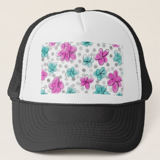 Pink and Teal Watercolor Flower Polka Dot Trucker Hat