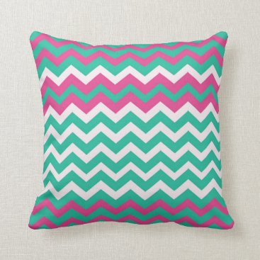 Beach Themed Pink and Teal Zigzags Throw Pillow