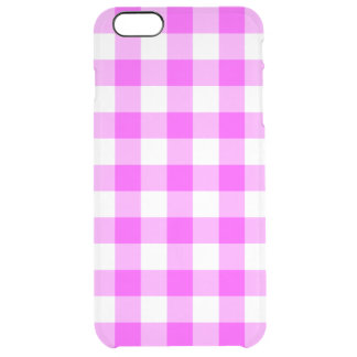 Pink and Transparent Gingham Pattern Clear iPhone 6 Plus Case