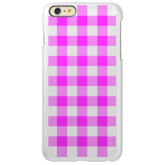 Pink and Transparent Gingham Pattern Incipio Feather® Shine iPhone 6 Plus Case