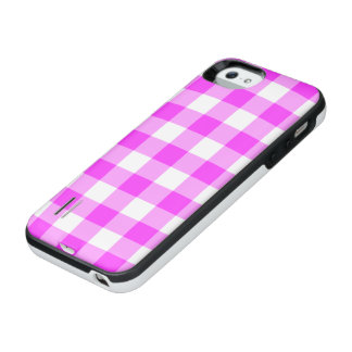 Pink and Transparent Gingham Pattern iPhone SE/5/5s Battery Case