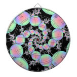 Pink and Turquoise Balloon Spiral Dartboard With Darts