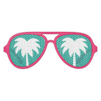Pink and turquoise blue palm tree party shades