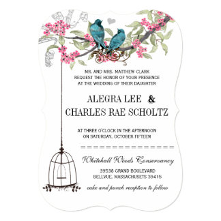 Pink and Turquoise Cherry Blossom Birds Wedding Card