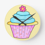 Pink and Turquoise Cupcake Clock