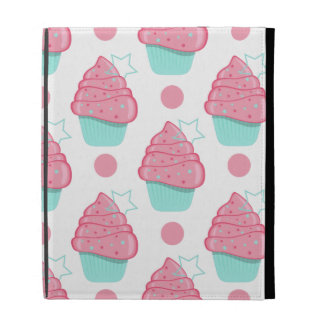 Pink and Turquoise Cupcakes, Cupcake Pattern iPad Folio Cover