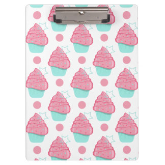 Pink and Turquoise Cupcakes, Cupcake Pattern Clipboard