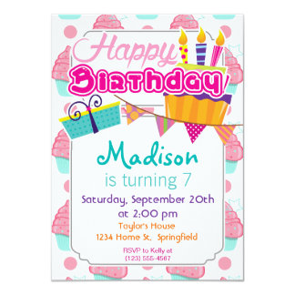 Pink and Turquoise Cupcakes, Cupcake Pattern 4.5x6.25 Paper Invitation Card