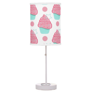 Pink and Turquoise Cupcakes, Cupcake Pattern Desk Lamp