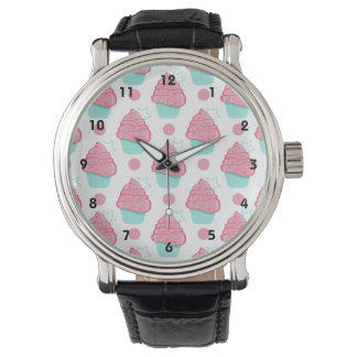 Pink and Turquoise Cupcakes, Cupcake Pattern Watch