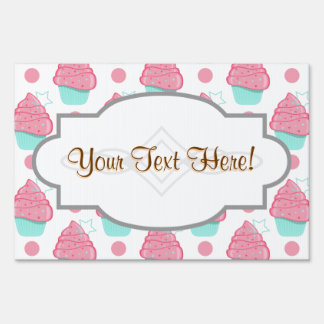 Pink and Turquoise Cupcakes Cupcake Pattern Signs