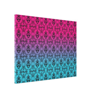 Pink and Turquoise Damask Pattern Canvas Print