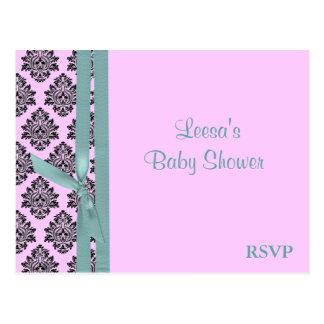 Pink and Turquoise Damask RSVP Post Card
