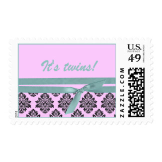 Pink and turquoise damask twins postage