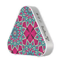 Pink and turquoise floral mandala pattern bluetooth speaker